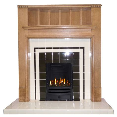 art deco style tiled fireplace insert