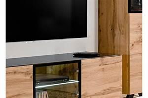 Meuble Tele En Bois : meuble t l bas en bois et verre avec led jao cbc meubles ~ Melissatoandfro.com Idées de Décoration
