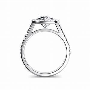 floating halo cushion cut diamond engagement ring With floating diamond wedding ring