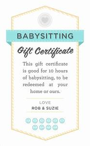 Babysitter date night printable babysitting gift certificate download fully customizable psd for Baby sitting gift certificate
