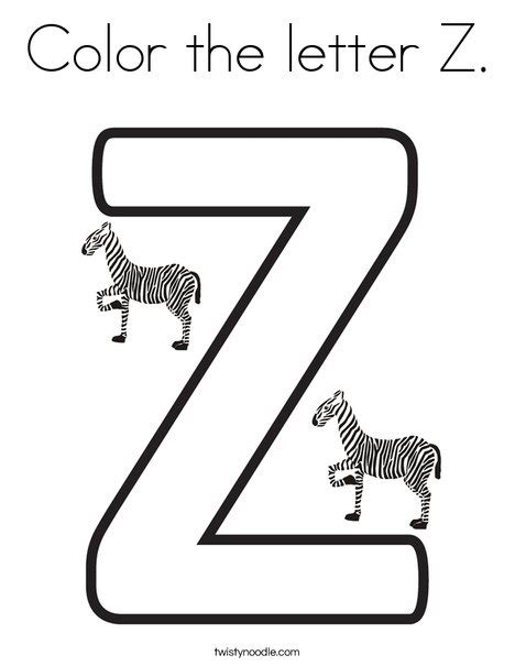 color with z color the letter z coloring page twisty noodle