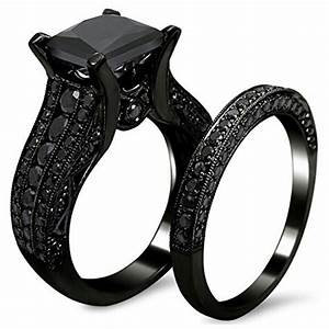 carbonado amiery black gold sapphire princess cut cz With black womens wedding ring