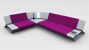 Sleek Shelved Seating Slim Sofa By Stephane Perruchon