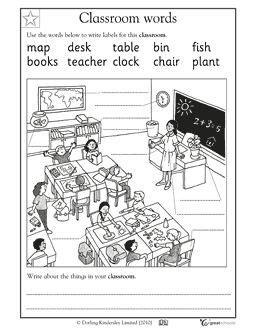 labeling objects using a word bank kindergarten pinterest