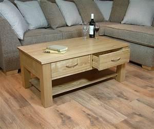 Mobel Oak 4 Drawer Coffee Table With Shelf Mobel Oak