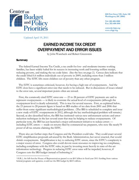 earned income tax credit overpayment  error issues