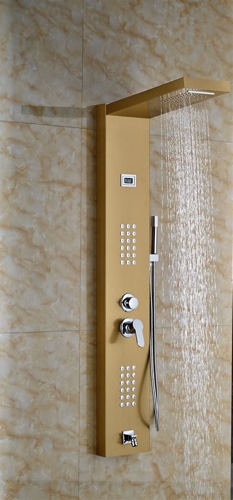 At Shower by Lenox Digital Display Shower Panel Column With Rainfall