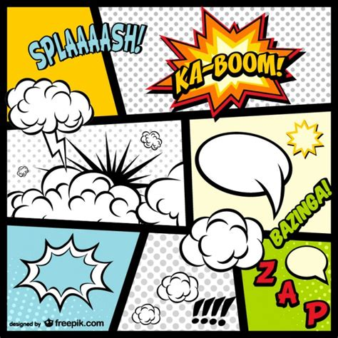 Comic Book Page Elements Vector  Free Download