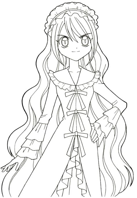 Anime Girl Coloring Pages646 Bestofcoloring com
