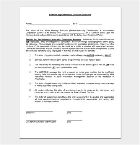 temporary appointment letter  samples formats
