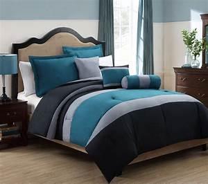 Teal, And, Grey, Bedding, Sets, Elegant, Bedroom, White