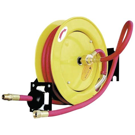amflo retractable air hose reel with 50 ft rubber air
