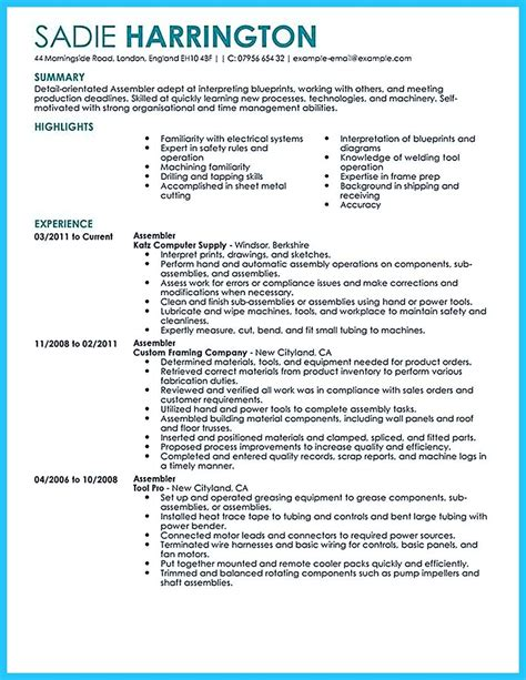 Resume Exles That Stand Out by Awesome Professional Assembly Line Worker Resume To Make