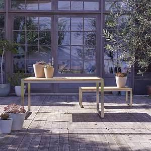 Table Teck Jardin : table de jardin en teck inox vente meuble d 39 ext rieur arno tikamoon ~ Teatrodelosmanantiales.com Idées de Décoration