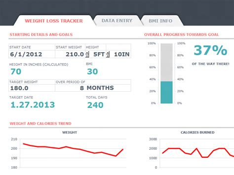 weight loss tracker  bmi dashboard  microsoft excel