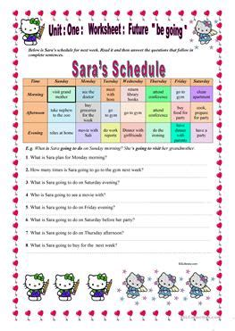 esl schedule worksheets