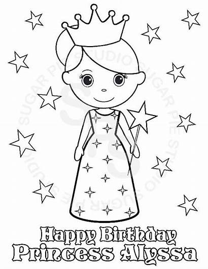 Birthday Princess Coloring Printable Personalized Happy Pdf