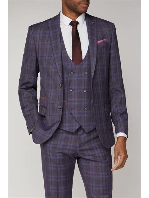 antique rogue mens purple checked slim fit suit suit