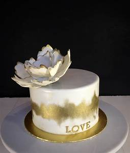 White And Gold Cake - CakeCentral com