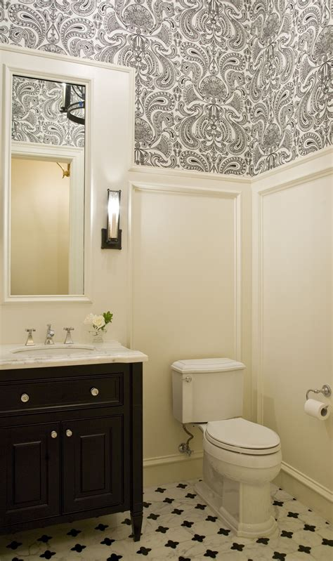 White Wainscoting Bathroom by Black And White Guest Bathroom Design Bean