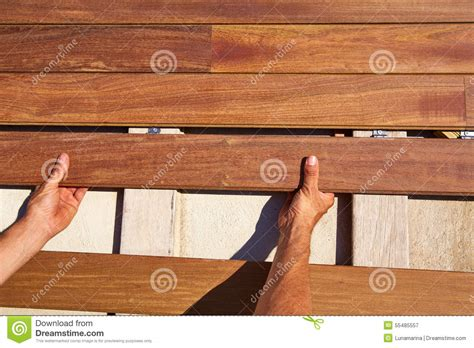 ipe decking deck wood installation fasteners stock photo image 55485557