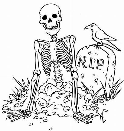 Coloring Pages Halloween Printable Spooky Skeleton Scary