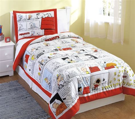 boys peanuts snoopy comics red comforter sham set twin ebay