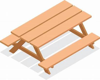 Table Isometric Vector Benches Icon Wooden Outdoor