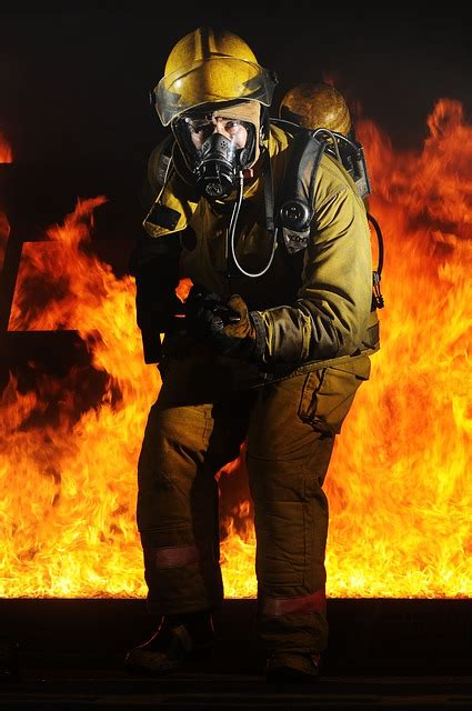 firefighter fire portrait  photo  pixabay