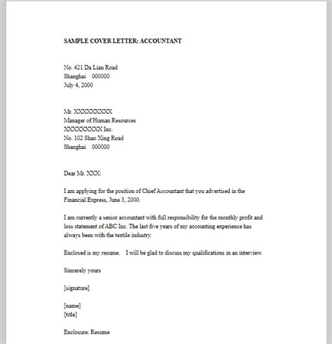 resume cover letter accounting template sle templates