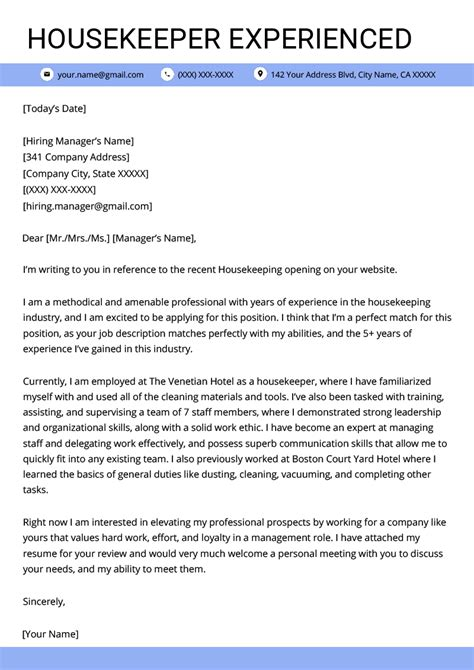 Housekeeper Cover Letter by Housekeeping Cover Letter Sle Resume Genius