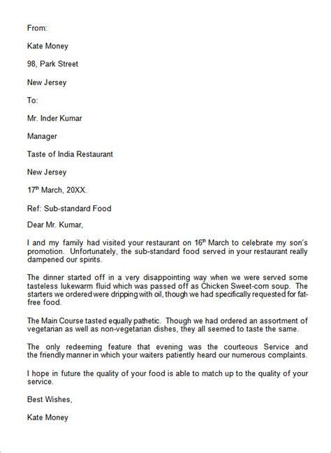 complaint letter     word sample