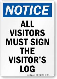 Visitor security signs for All visitors must sign in template