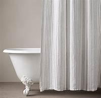 restoration hardware shower curtain Italian Stripe Jacquard Linen Shower Curtain
