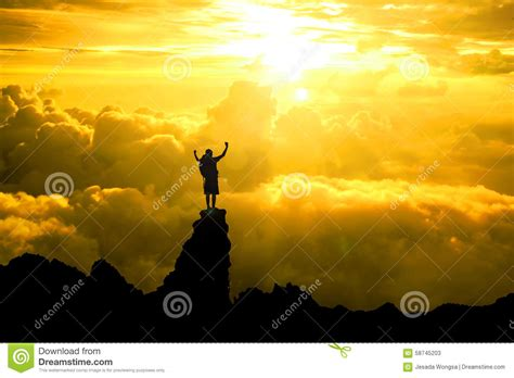 Silhouette Of Men Backpacker Open Arms Raised Towards On