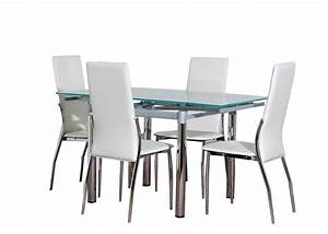 Glass dining table furniture and 4 cream chairs set ebay for Glass dining table sets