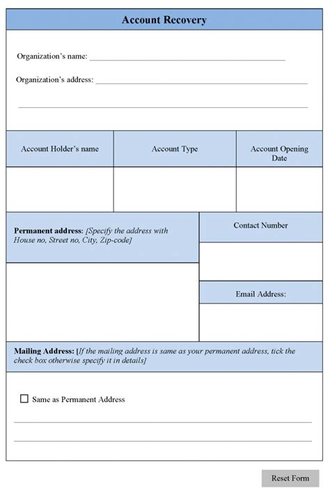 Account Recovery Account Recovery Form Editable Forms