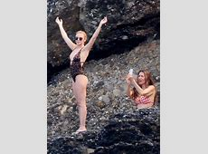 Kylie Minogue in Leopard Print Swimsuit Portofino July 2013