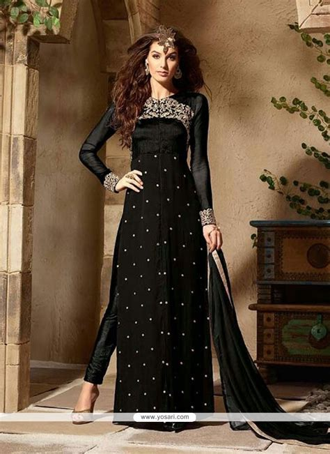 buy honourable black georgette designer pakistani salwar