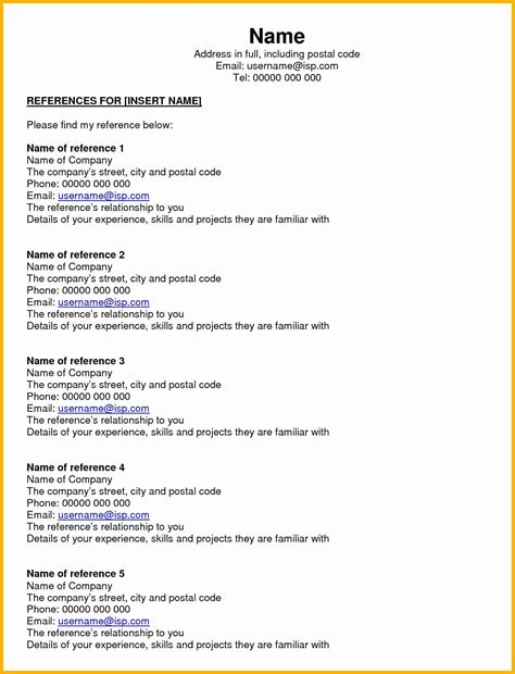 resume reference page template beautiful 5 reference