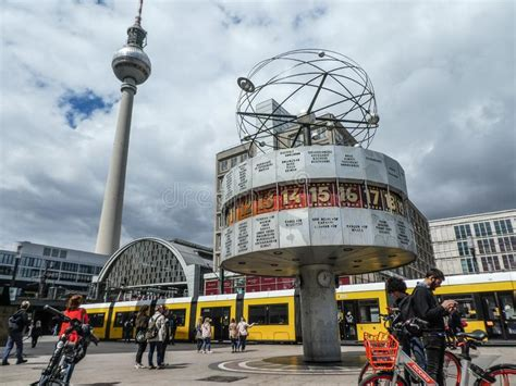atomic clock alexanderplatz berlin stock photo image
