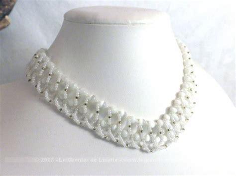 ras de cou perle vendu collier ras de cou blanc perles rocailles et verre