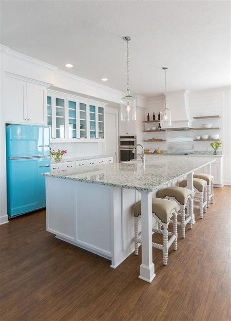 turquoise recycled glass countertops cottage kitchen