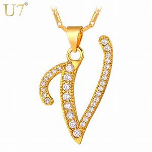 aliexpresscom buy u7 fashion v letter design capital With letter v necklace gold