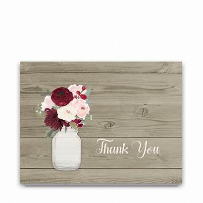 Rustic Thank Mason Jar Burgundy Cards Floral