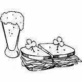 Coloring Sandwich Beer Butter Peanut Jelly Place Tocolor Sandwiches sketch template