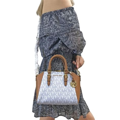 spreesuki michael kors ciara medium messenger satchel crossbody bag vanilla white acorn