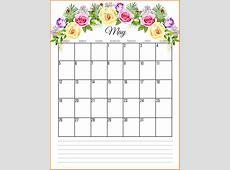 Printable Floral 2019 Monthly Calendar Calendar 2019