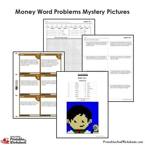 grade money word problems mystery pictures coloring worksheets printables worksheets