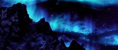 Aurora Skyrim Lights Northern Landscape Scenery Elder